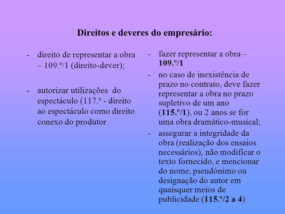 Direitos e deveres do empresário: -direito de representar a obra – 109.º/1 (direito-dever); -autorizar utilizações do espectáculo (117.º - direito ao
