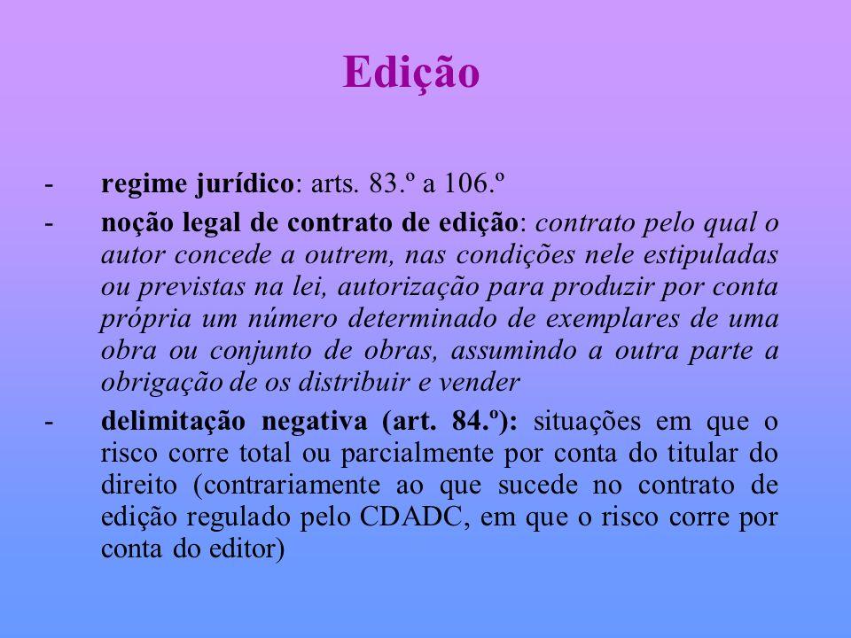 Edição -regime jurídico: arts. 83.º a 106.º -noção legal de contrato de edição: contrato pelo qual o autor concede a outrem, nas condições nele estipu