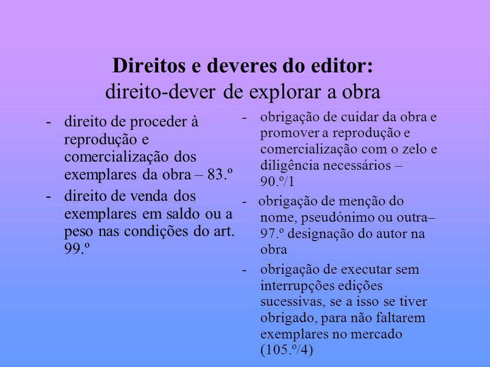 Direitos e deveres do editor: direito-dever de explorar a obra -direito de proceder à reprodução e comercialização dos exemplares da obra – 83.º -dire