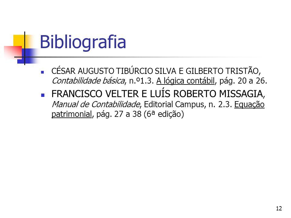Bibliografia CÉSAR AUGUSTO TIBÚRCIO SILVA E GILBERTO TRISTÃO, Contabilidade básica, n.º1.3. A lógica contábil, pág. 20 a 26. FRANCISCO VELTER E LUÍS R