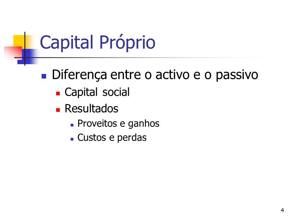 4 Capital Próprio Diferença entre o activo e o passivo Capital social Resultados Proveitos e ganhos Custos e perdas