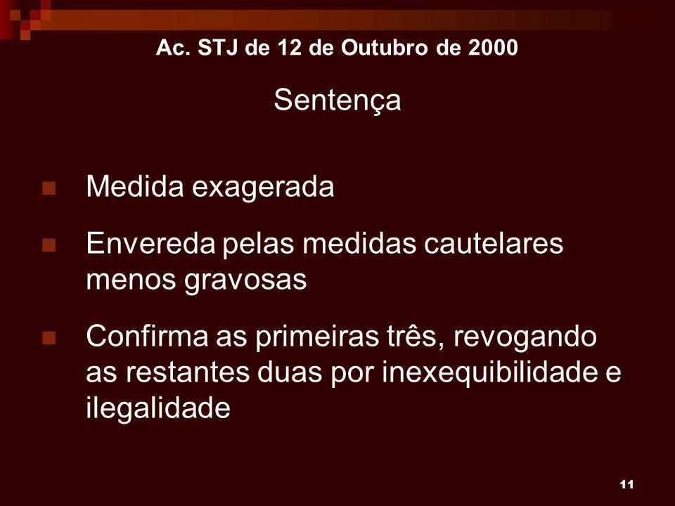 11 Ac. STJ de 12 de Outubro de 2000 Sentença Medida exagerada Envereda pelas medidas cautelares menos gravosas Confirma as primeiras três, revogando a