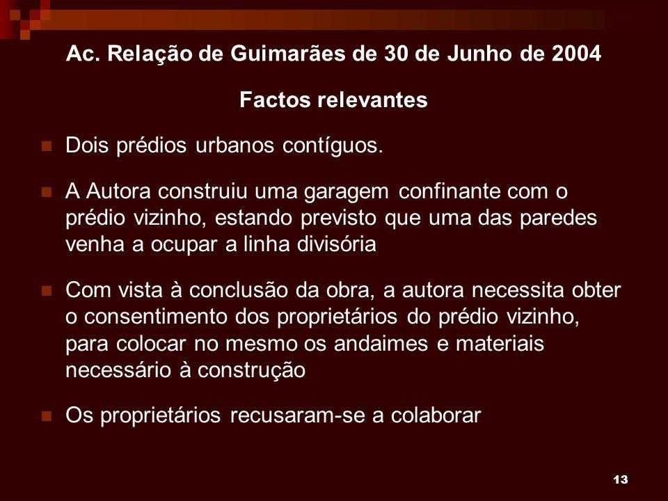 13 Ac. Relação de Guimarães de 30 de Junho de 2004 Factos relevantes Dois prédios urbanos contíguos. A Autora construiu uma garagem confinante com o p
