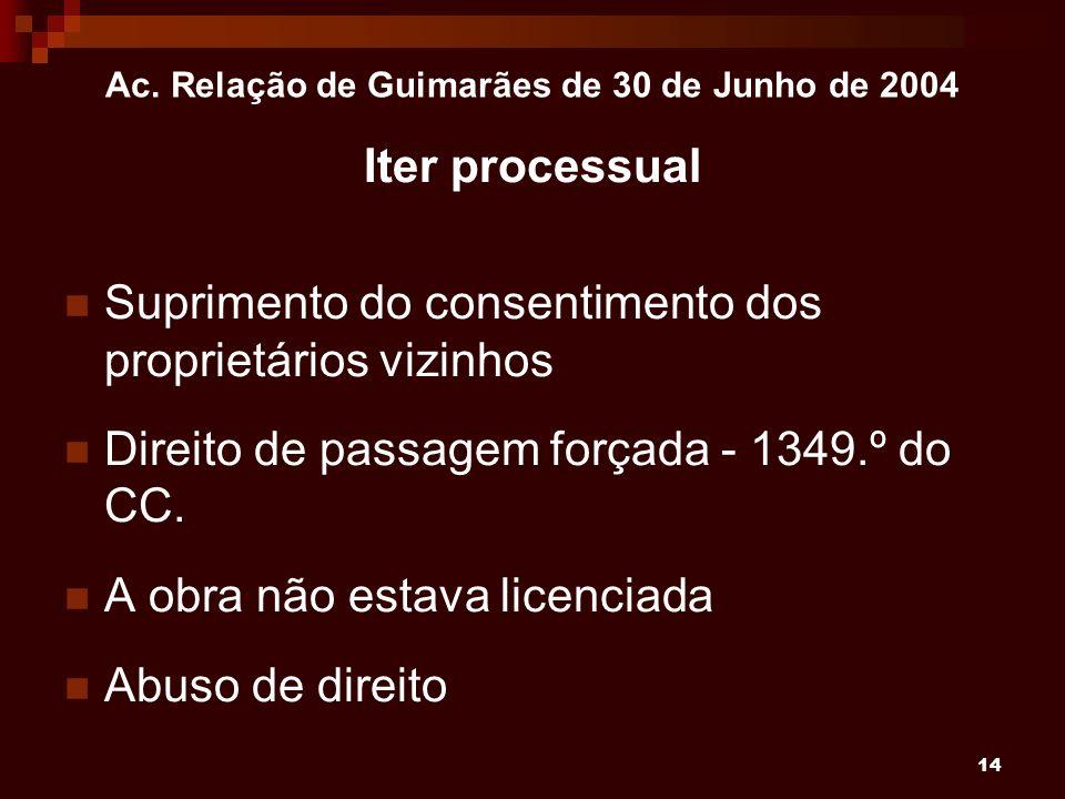 14 Ac. Relação de Guimarães de 30 de Junho de 2004 Iter processual Suprimento do consentimento dos proprietários vizinhos Direito de passagem forçada