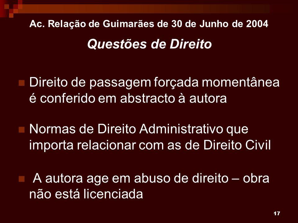 17 Ac. Relação de Guimarães de 30 de Junho de 2004 Questões de Direito Direito de passagem forçada momentânea é conferido em abstracto à autora Normas