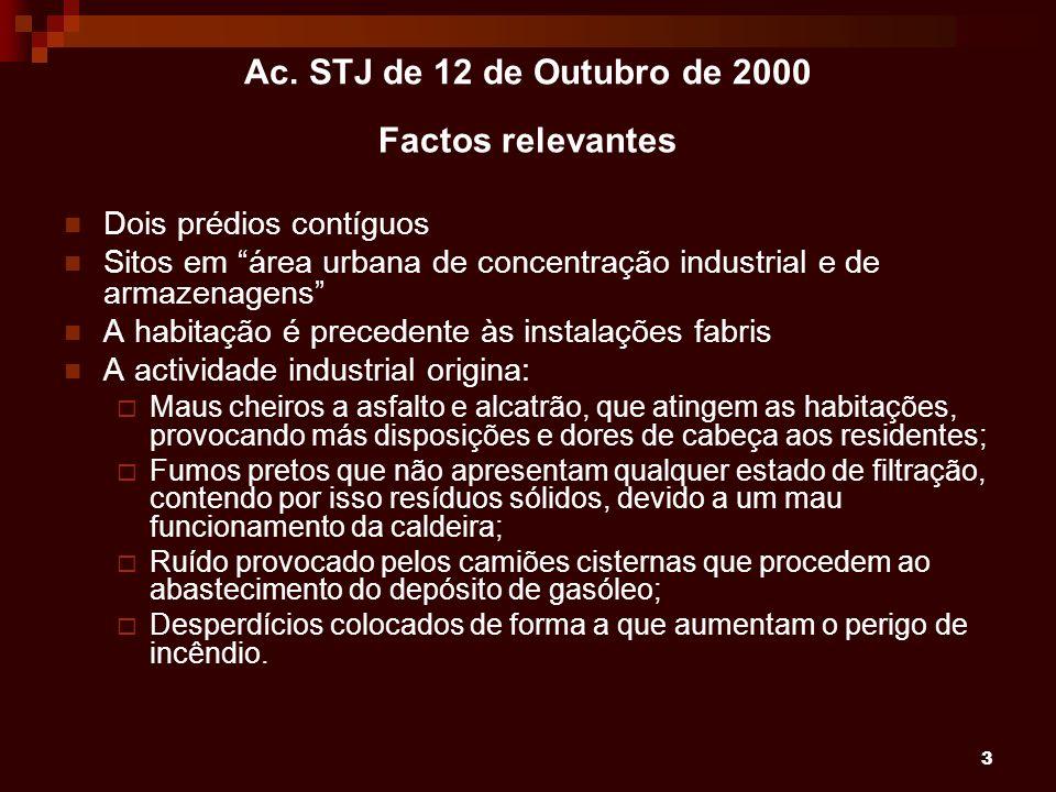 3 Ac. STJ de 12 de Outubro de 2000 Factos relevantes Dois prédios contíguos Sitos em área urbana de concentração industrial e de armazenagens A habita