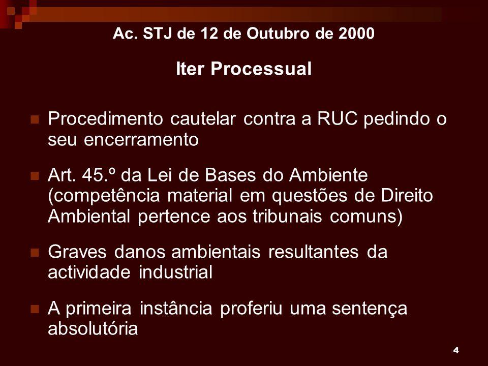 4 Ac. STJ de 12 de Outubro de 2000 Iter Processual Procedimento cautelar contra a RUC pedindo o seu encerramento Art. 45.º da Lei de Bases do Ambiente