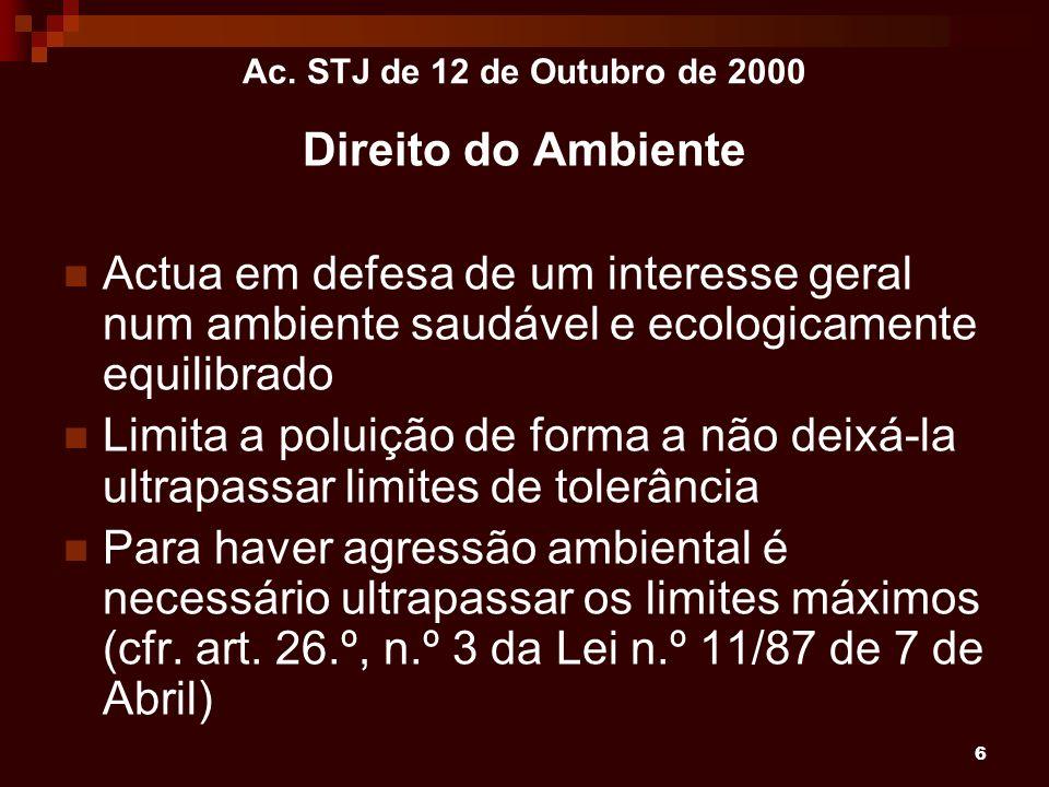 6 Ac. STJ de 12 de Outubro de 2000 Direito do Ambiente Actua em defesa de um interesse geral num ambiente saudável e ecologicamente equilibrado Limita