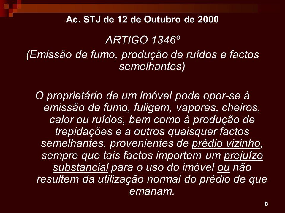 8 Ac. STJ de 12 de Outubro de 2000 ARTIGO 1346º (Emissão de fumo, produção de ruídos e factos semelhantes) O proprietário de um imóvel pode opor-se à