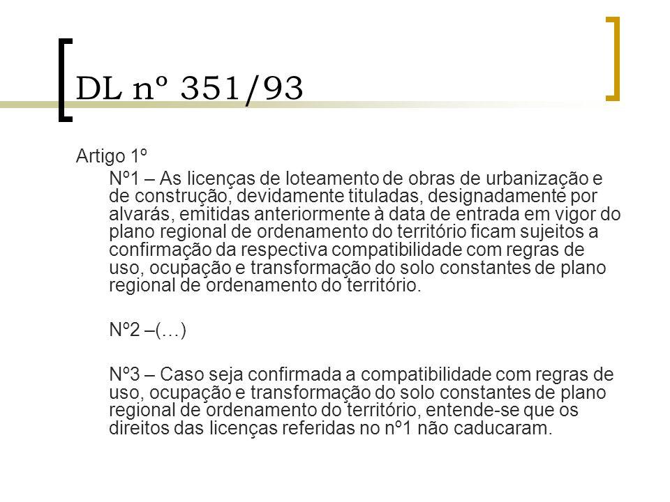 DL nº 351/93 Artigo 1º Nº1 – As licenças de loteamento de obras de urbanização e de construção, devidamente tituladas, designadamente por alvarás, emi