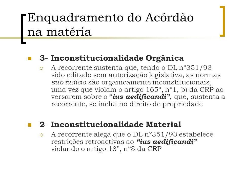 Enquadramento do Acórdão na matéria 3 - Inconstitucionalidade Orgânica A recorrente sustenta que, tendo o DL nº351/93 sido editado sem autorização leg