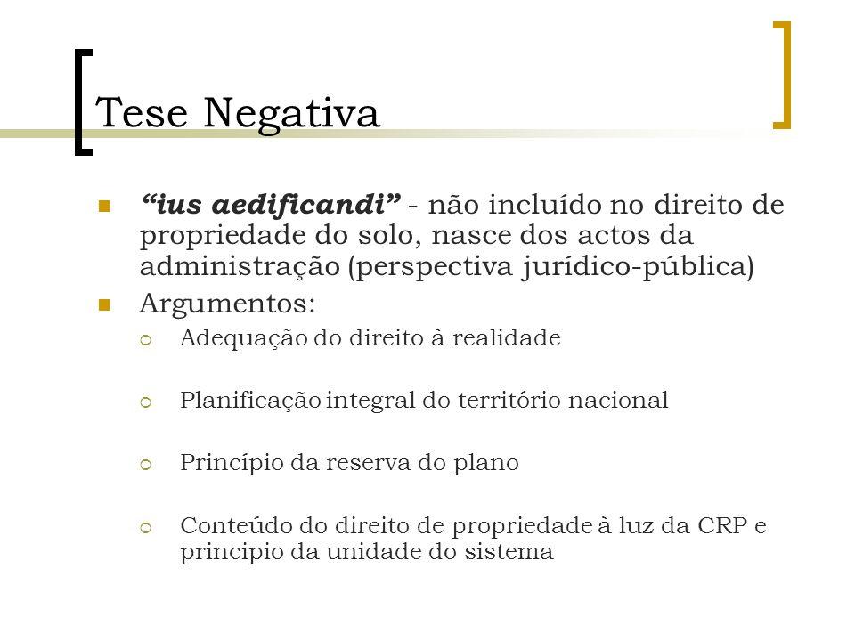 Tese Negativa ius aedificandi - não incluído no direito de propriedade do solo, nasce dos actos da administração (perspectiva jurídico-pública) Argume