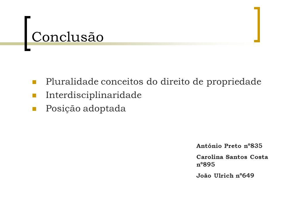 Conclusão Pluralidade conceitos do direito de propriedade Interdisciplinaridade Posição adoptada António Preto nº835 Carolina Santos Costa nº895 João