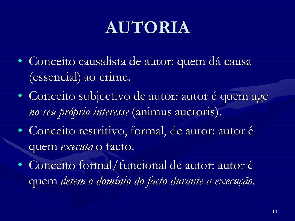 11 AUTORIA Conceito causalista de autor: quem dá causa (essencial) ao crime.Conceito causalista de autor: quem dá causa (essencial) ao crime. Conceito
