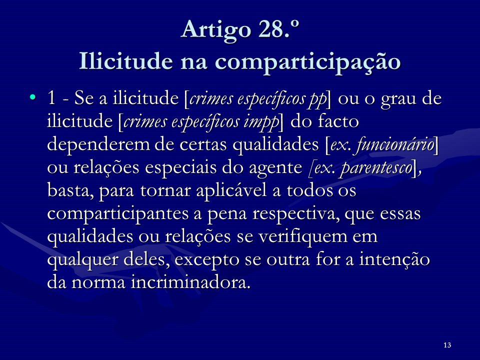 13 Artigo 28.º Ilicitude na comparticipação 1 - Se a ilicitude [crimes específicos pp] ou o grau de ilicitude [crimes específicos impp] do facto depen