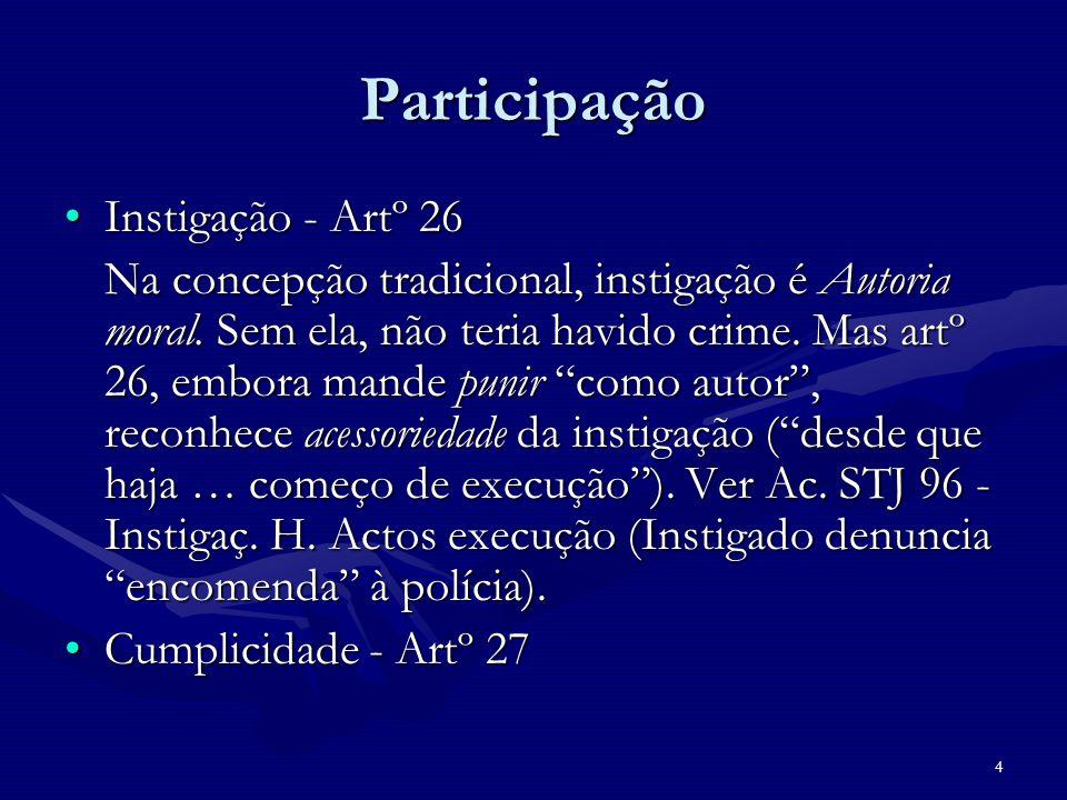 4 Participação Instigação - Artº 26Instigação - Artº 26 Na concepção tradicional, instigação é Autoria moral. Sem ela, não teria havido crime. Mas art