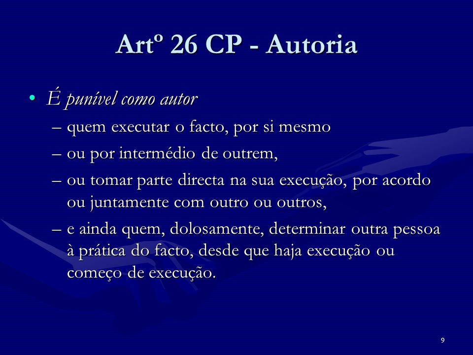 9 Artº 26 CP - Autoria É punível como autorÉ punível como autor –quem executar o facto, por si mesmo –ou por intermédio de outrem, –ou tomar parte dir