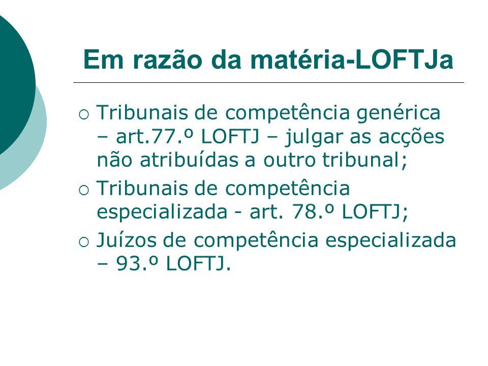 Em razão da matéria-LOFTJa Tribunais de competência genérica – art.77.º LOFTJ – julgar as acções não atribuídas a outro tribunal; Tribunais de competê