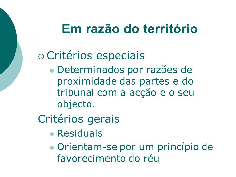 Em razão do território Critérios especiais Determinados por razões de proximidade das partes e do tribunal com a acção e o seu objecto. Critérios gera