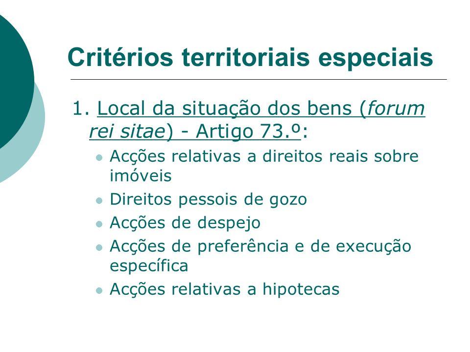 Critérios territoriais especiais 1. Local da situação dos bens (forum rei sitae) - Artigo 73.º: Acções relativas a direitos reais sobre imóveis Direit