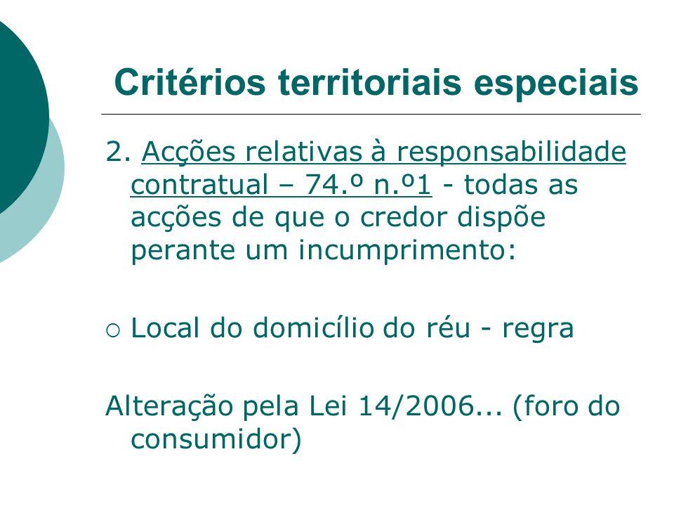 2. Acções relativas à responsabilidade contratual – 74.º n.º1 - todas as acções de que o credor dispõe perante um incumprimento: Local do domicílio do