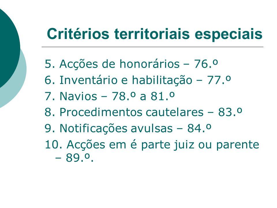 5. Acções de honorários – 76.º 6. Inventário e habilitação – 77.º 7. Navios – 78.º a 81.º 8. Procedimentos cautelares – 83.º 9. Notificações avulsas –