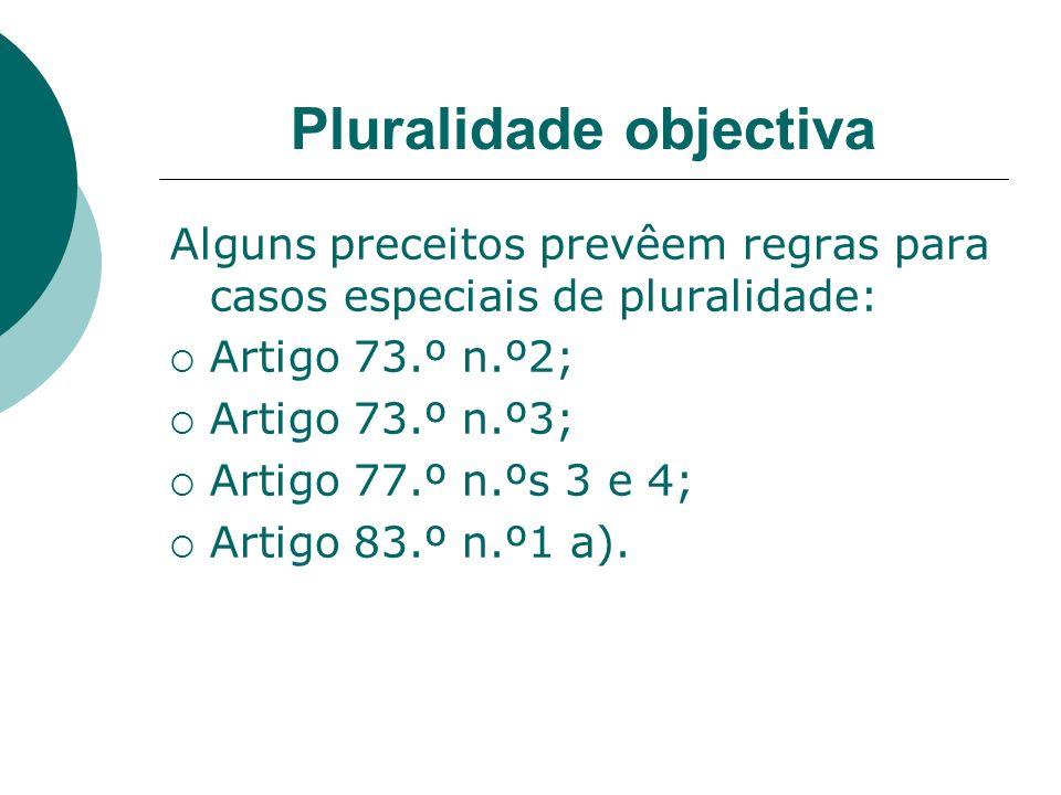 Pluralidade objectiva Alguns preceitos prevêem regras para casos especiais de pluralidade: Artigo 73.º n.º2; Artigo 73.º n.º3; Artigo 77.º n.ºs 3 e 4;