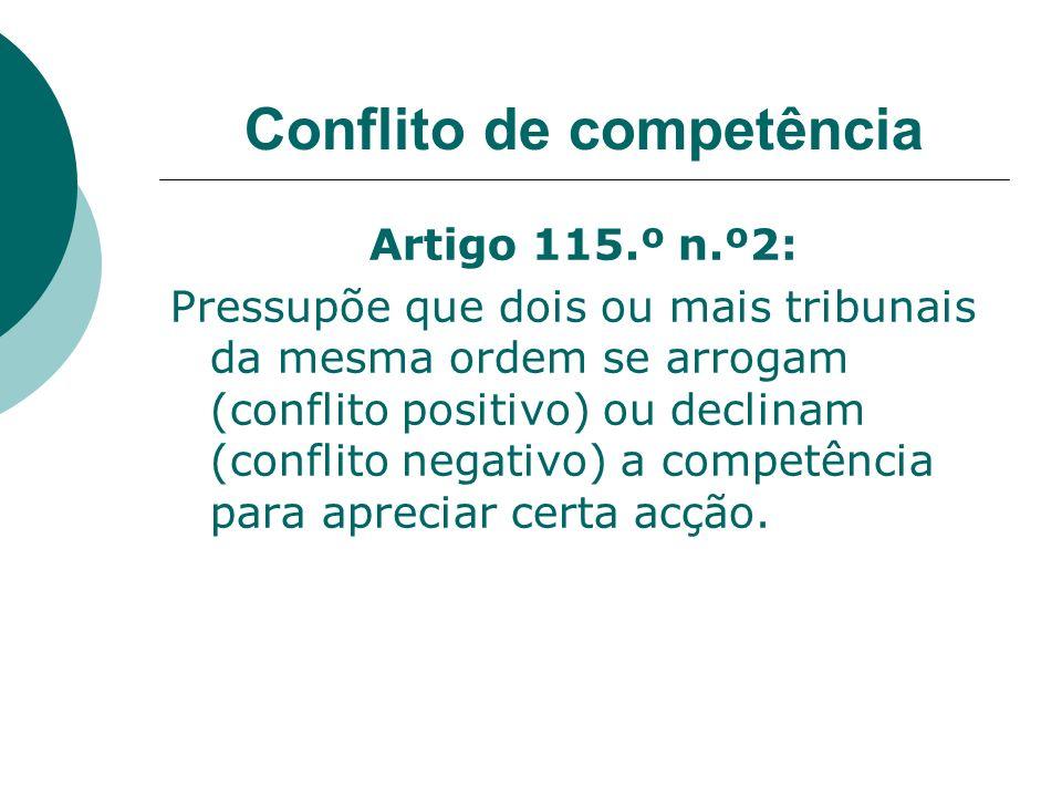 Conflito de competência Artigo 115.º n.º2: Pressupõe que dois ou mais tribunais da mesma ordem se arrogam (conflito positivo) ou declinam (conflito ne