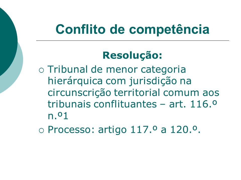 Conflito de competência Resolução: Tribunal de menor categoria hierárquica com jurisdição na circunscrição territorial comum aos tribunais conflituant