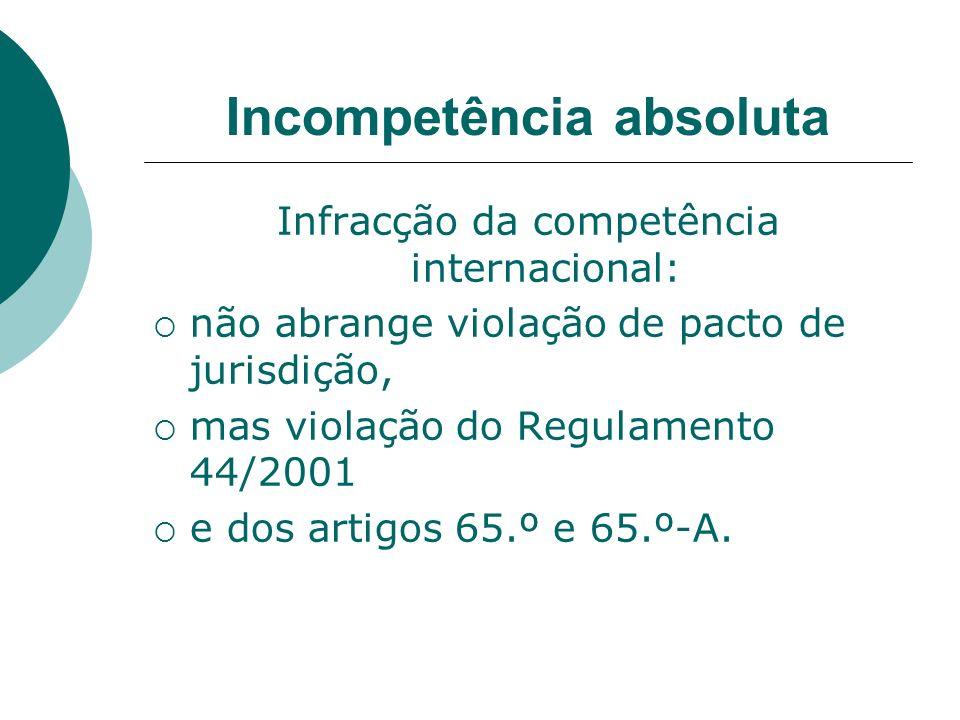 Incompetência absoluta Infracção da competência internacional: não abrange violação de pacto de jurisdição, mas violação do Regulamento 44/2001 e dos