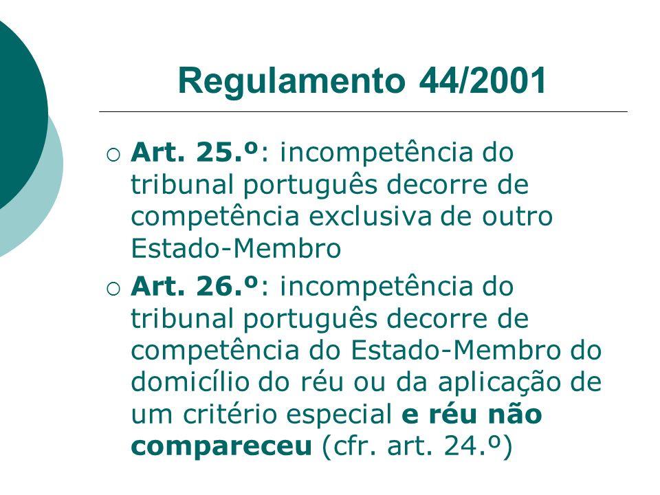 Regulamento 44/2001 Art. 25.º: incompetência do tribunal português decorre de competência exclusiva de outro Estado-Membro Art. 26.º: incompetência do