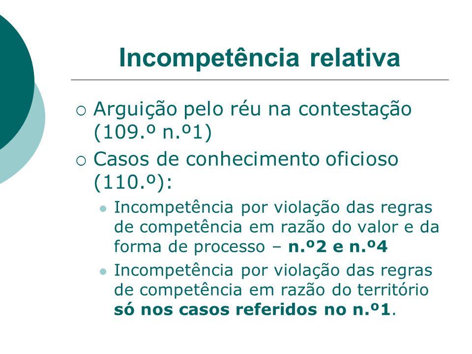 Incompetência relativa Arguição pelo réu na contestação (109.º n.º1) Casos de conhecimento oficioso (110.º): Incompetência por violação das regras de