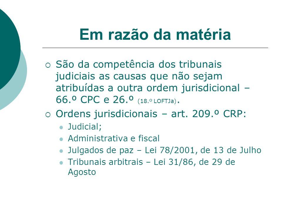 Em razão da matéria São da competência dos tribunais judiciais as causas que não sejam atribuídas a outra ordem jurisdicional – 66.º CPC e 26.º (18.º