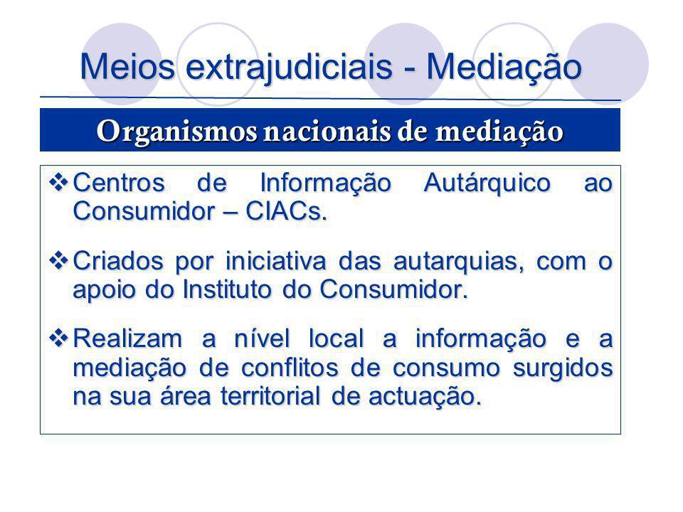 Meios extrajudiciais - Mediação Centros de Informação Autárquico ao Consumidor – CIACs. Centros de Informação Autárquico ao Consumidor – CIACs. Criado