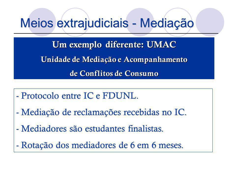 Meios extrajudiciais - Mediação Um exemplo diferente: UMAC Unidade de Mediação e Acompanhamento de Conflitos de Consumo - Protocolo entre IC e FDUNL.
