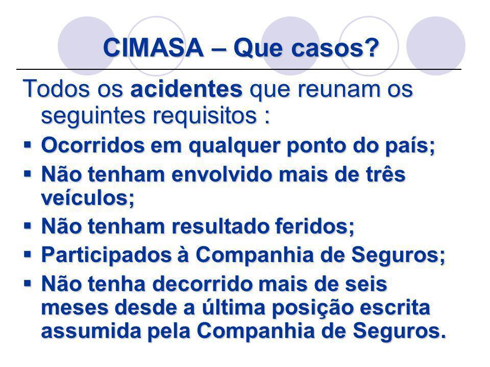 CIMASA – Que casos? Todos os acidentes que reunam os seguintes requisitos : Ocorridos em qualquer ponto do país; Ocorridos em qualquer ponto do país;