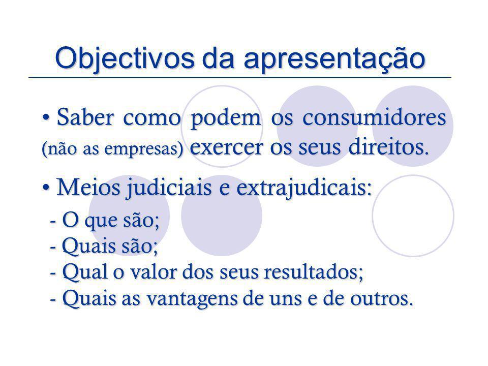 Objectivos da apresentação Saber como podem os consumidores (não as empresas) exercer os seus direitos. Saber como podem os consumidores (não as empre