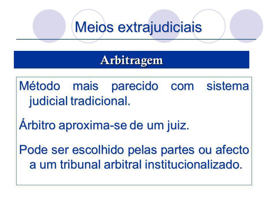 Meios extrajudiciais Método mais parecido com sistema judicial tradicional. Árbitro aproxima-se de um juiz. Pode ser escolhido pelas partes ou afecto
