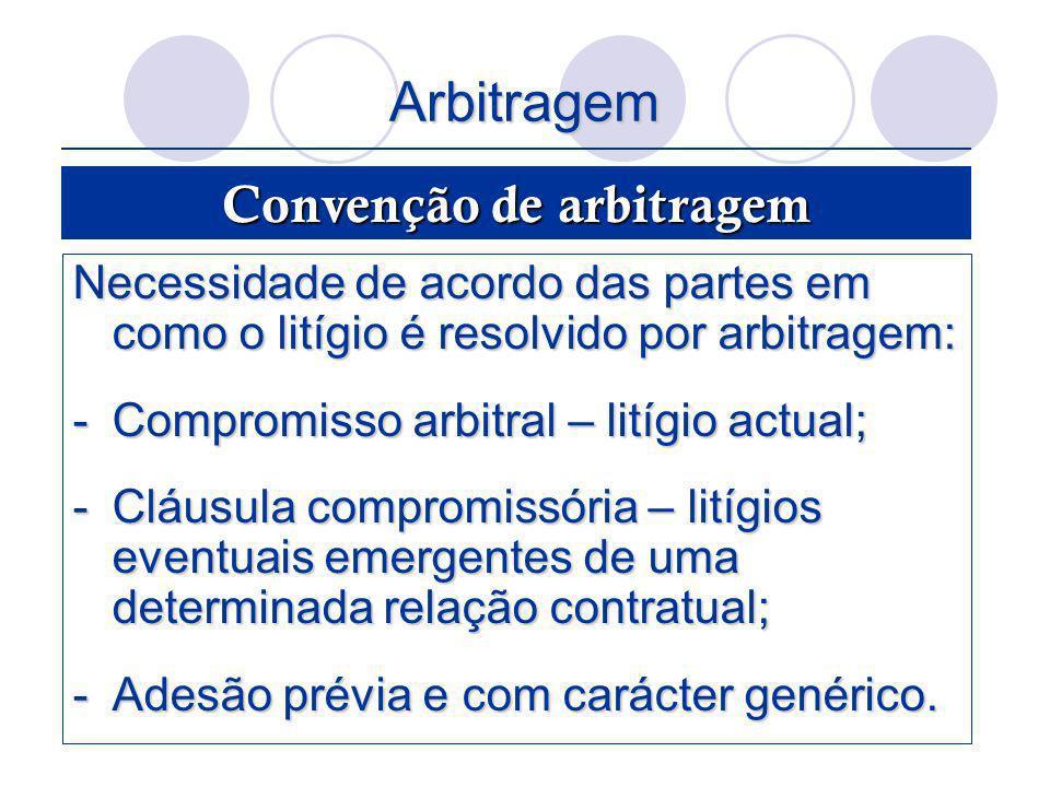 Arbitragem Necessidade de acordo das partes em como o litígio é resolvido por arbitragem: -Compromisso arbitral – litígio actual; -Cláusula compromiss
