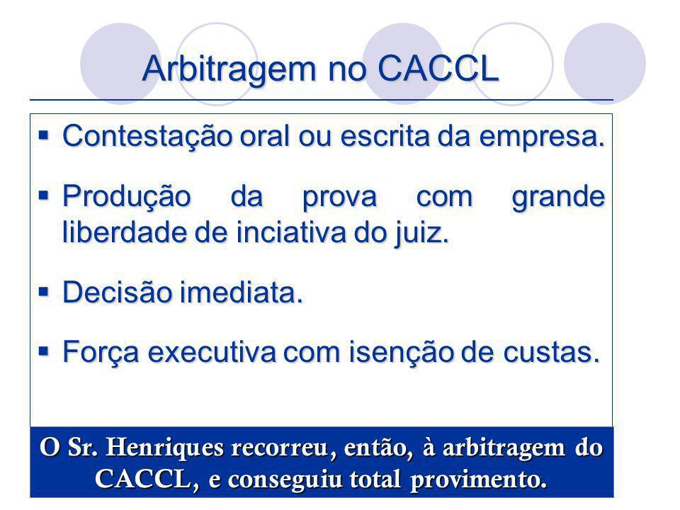 Arbitragem no CACCL Contestação oral ou escrita da empresa. Contestação oral ou escrita da empresa. Produção da prova com grande liberdade de inciativ