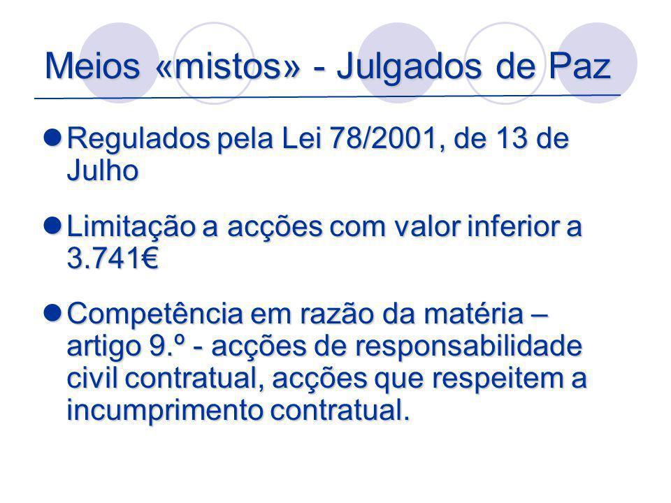 Meios «mistos» - Julgados de Paz Regulados pela Lei 78/2001, de 13 de Julho Regulados pela Lei 78/2001, de 13 de Julho Limitação a acções com valor in