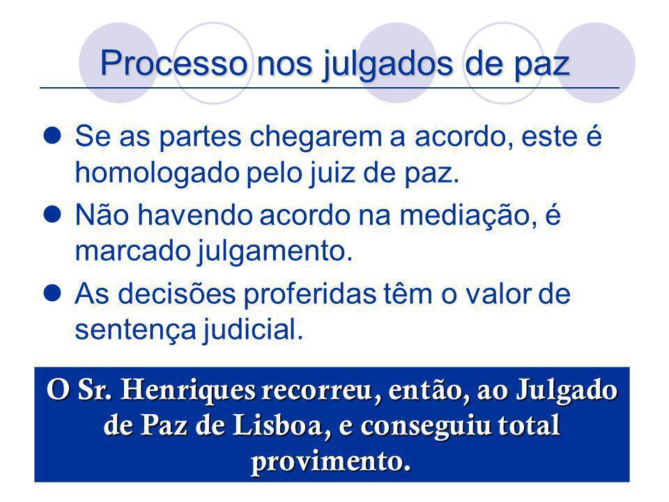 Processo nos julgados de paz Se as partes chegarem a acordo, este é homologado pelo juiz de paz. Não havendo acordo na mediação, é marcado julgamento.