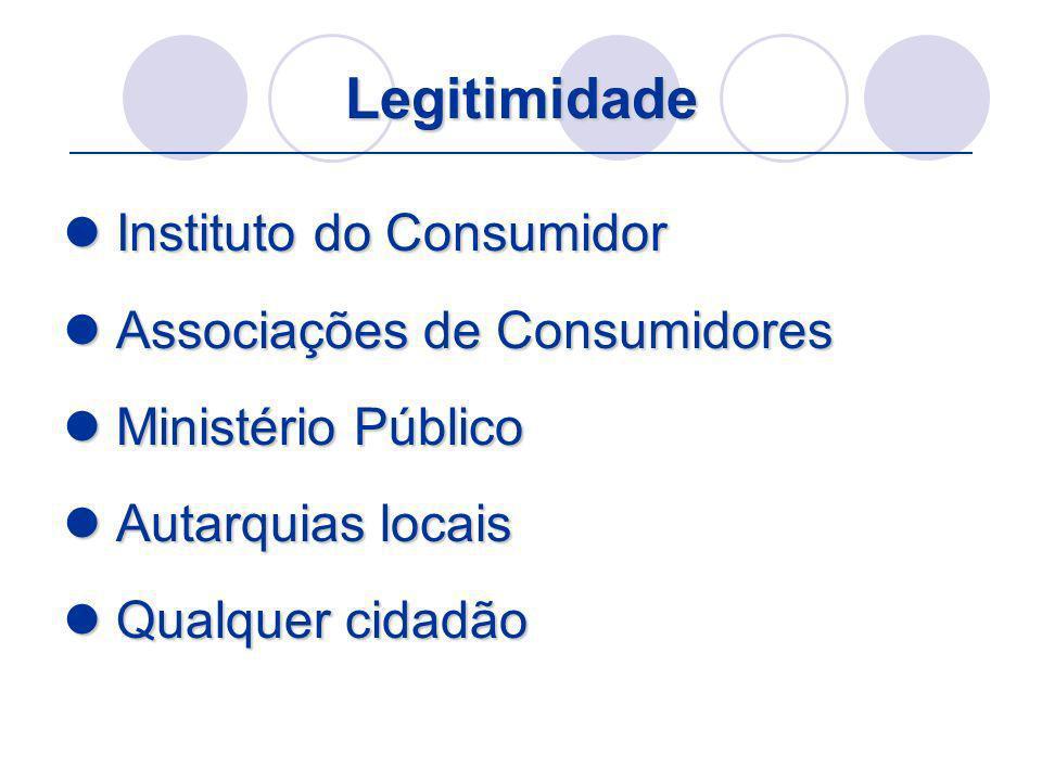Legitimidade Instituto do Consumidor Instituto do Consumidor Associações de Consumidores Associações de Consumidores Ministério Público Ministério Púb