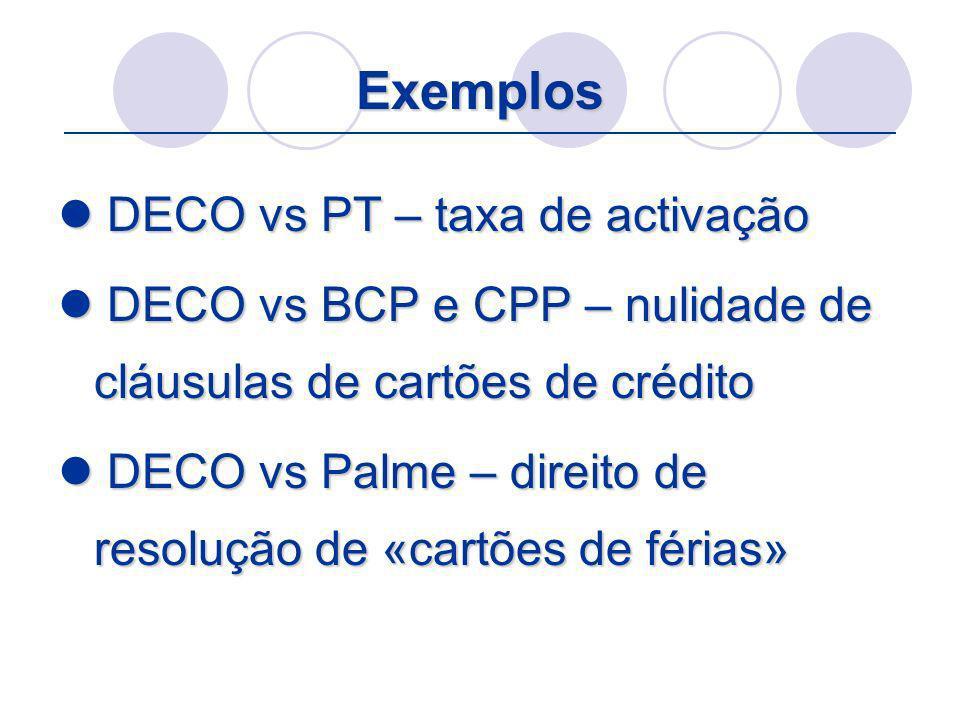 Exemplos DECO vs PT – taxa de activação DECO vs PT – taxa de activação DECO vs BCP e CPP – nulidade de cláusulas de cartões de crédito DECO vs BCP e C