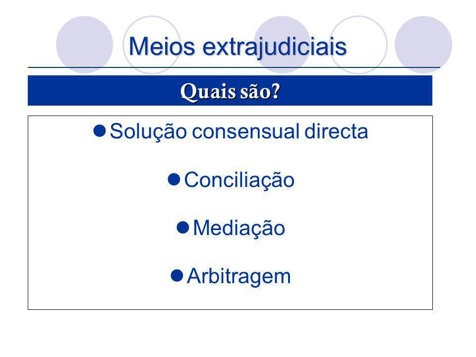 Meios extrajudiciais Solução consensual directa Conciliação Mediação Arbitragem Quais são?
