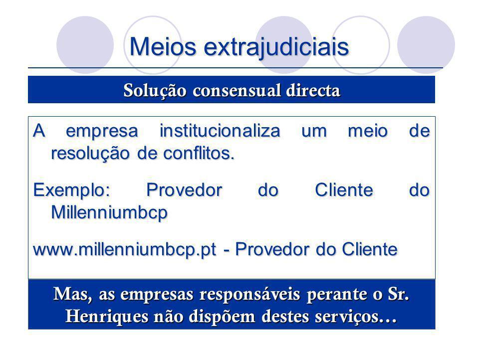 Meios extrajudiciais A empresa institucionaliza um meio de resolução de conflitos. Exemplo: Provedor do Cliente do Millenniumbcp www.millenniumbcp.pt