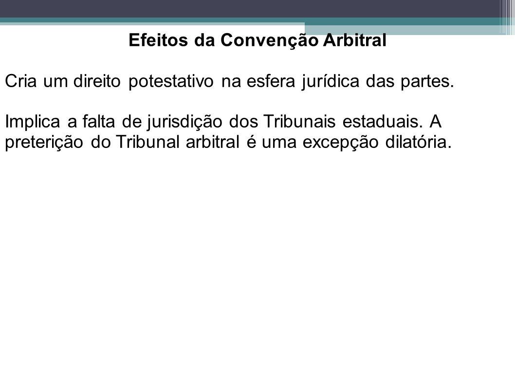 Efeitos da Convenção Arbitral Cria um direito potestativo na esfera jurídica das partes. Implica a falta de jurisdição dos Tribunais estaduais. A pret