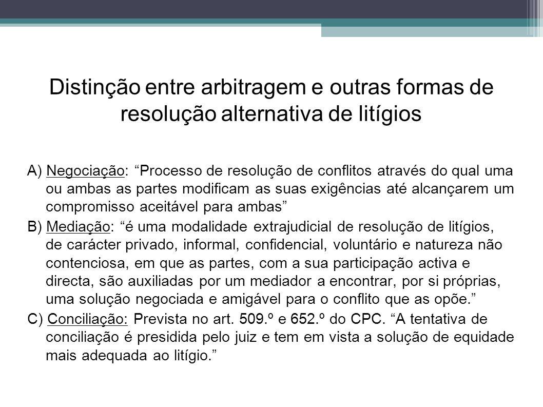 Distinção entre arbitragem e outras formas de resolução alternativa de litígios A) Negociação: Processo de resolução de conflitos através do qual uma