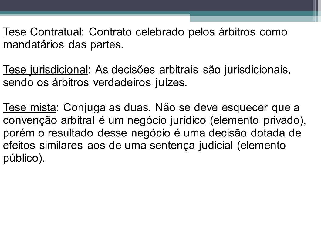 Tese Contratual: Contrato celebrado pelos árbitros como mandatários das partes. Tese jurisdicional: As decisões arbitrais são jurisdicionais, sendo os