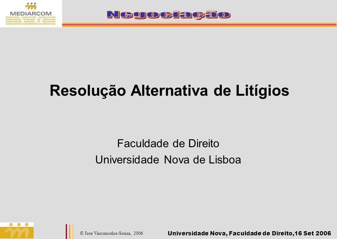 Universidade Nova, Faculdade de Direito,16 Set 2006 © Jose Vasconcelos-Sousa, 2006 Bibliografia Fisher, R.; Ury, W.; Patton, B.: Como Conduzir Uma Negociação?, Ed.